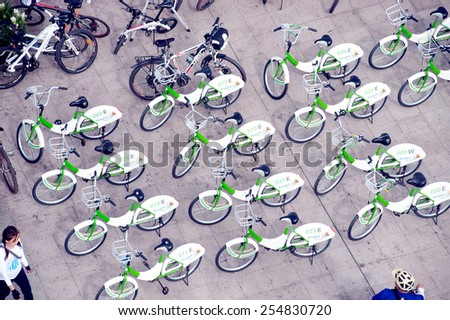 BANGKOK, THAILAND- SEPTEMBER  22 : Many bicycles parked at Sanam Luang near Grand Palace   in Car Free Day event on September 22, 2013 in Bangkok capital of Thailand. - stock photo
