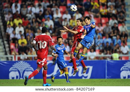 BANGKOK THAILAND - SEPTEMBER 6 : N.Siriwong of Thailand in action during FIFA WORLD CUP 2014 (Round 3), between Thailand(B) and Oman(R) at Rajamangla Stadium on September 6, 2011  Bangkok, Thailand.
