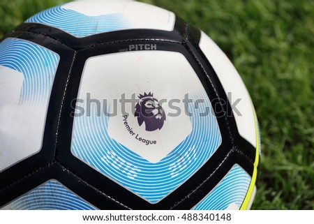 BANGKOK, THAILAND -SEPTEMBER 24, 2016: Nike Football For English Premier League on the grass on September 24,2016