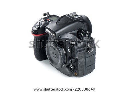BANGKOK, THAILAND - SEPTEMBER 29, 2014: Nikon D810 camera body, the first digital SLR camera in Nikon's history to offer a minimum standard sensitivity of ISO 64. - stock photo
