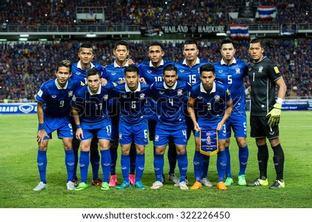 BANGKOK,THAILAND SEPTEMBER 08:Thailand players pose during  the 2018 FIFA World Cup Qualifier between Thailand and Iraq at Rajamangala Stadium on Sep 8, 2015 in Thailand. - stock photo