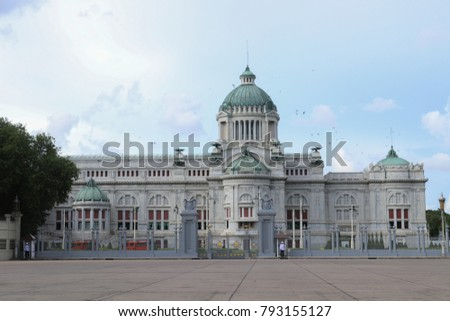Bangkok, Thailand - September 16, 2017: The Ananta Samakhom Throne Hall is the Royal Plaza with the equestrian statue of King Chulalongkorn (King Rama V) in the evening on September 16, 2017.