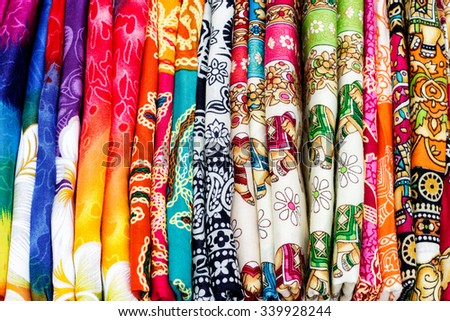 BANGKOK, Thailand - SEPTEMBER 18, 2015 : The batik cloth, famous souvenir by handmade in Thailand.Tourist can buy it from general fiber shop or tourist attraction.