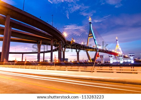 BANGKOK, THAILAND-SEPTEMBER 19:The Bhumibol Bridge , one of Thailand most famous bridges, spanning the river Choa Phraya on September 19 ,2012 in Bangkok, Thailand.