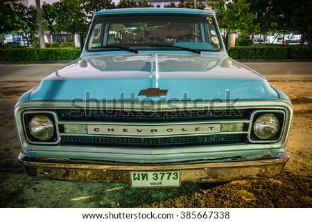 Bangkok, Thailand - September 21 : The Chevrolet truck parking at the University on Sep, 21, 2015 Bangkok, Thailand
