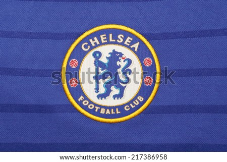 BANGKOK, THAILAND - SEPTEMBER 15, 2014:  the logo of chelsea football club on the jersey  on 15 September 2014. in Bangkok Thailand. chelsea is looking forward to get the trophy again this year - stock photo