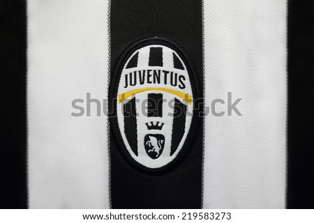BANGKOK, THAILAND -SEPTEMBER 24, 2014: the logo of Juventus football club on an official jersey on 24 September 2014 in Bangkok Thailand.