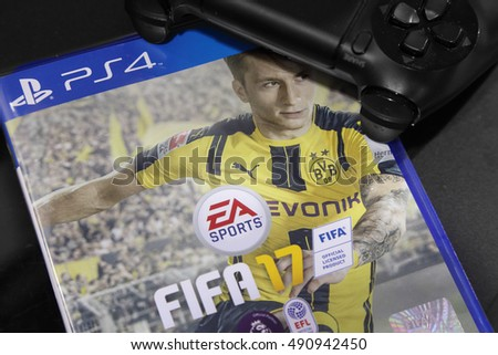BANGKOK, THAILAND - SEPTEMBER 29, 2016: The New Fifa 2017 game on PS4 Console on September 29,2016. in Bangkok Thailand.