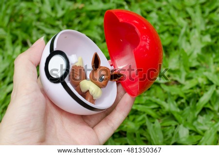 Bangkok, THAILAND - 5 September 2016: The photo of Pokeball on  Thailand. Pokeball is equipment for catch Pokemons - characters in game Pokemon Go.