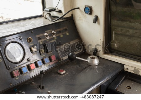 Bangkok, Thailand - September 12, 2015 : Unidentified cockpit of a Public Thai Train Railway with dashboard. This is a public train Does not require a property release.