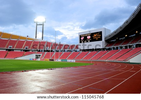 BANGKOK THAILAND-SEPTEMBER 15:View of Rajamangala stadium before match Thai Premier League between BBCU F.C.and Insee Police Utd.at Rajamangala stadium on Sep15,2012 in Bangkok Thailand. - stock photo