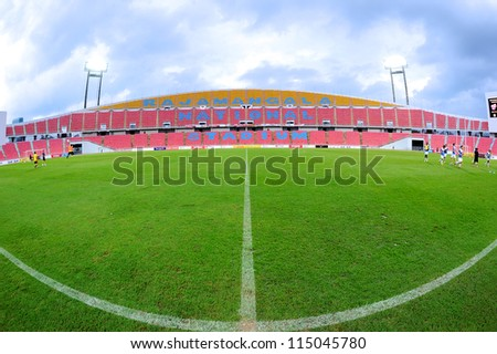 BANGKOK THAILAND-SEPTEMBER 15:View of Rajamangala stadium before match Thai Premier League between BBCU F.C.and Insee Police Utd.at Rajamangala stadium on Sep15,2012 in Bangkok Thailand.