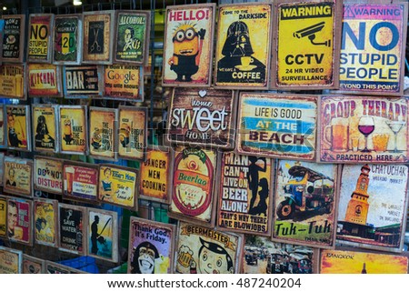 Bangkok,Thailand-September 18,2016:Vintage metal style signs on sale at chatujak market,Thailand