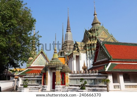 Bangkok, Thailand, Southeast Asia - Temple of the Reclining Buddha. Wat Pho. - stock photo