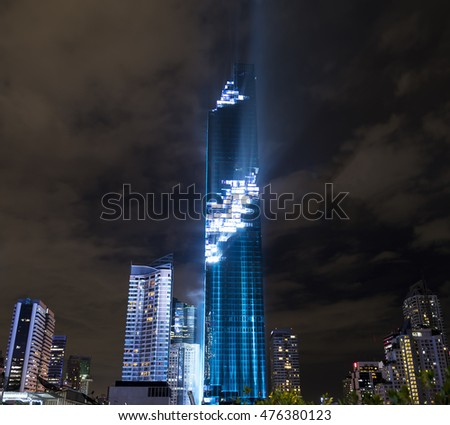 BANGKOK - THAILAND 29th AUGUST, 2016 : Night of lights cityscape for grand opening of Mahanakhon building. The new highest building in Thailand.