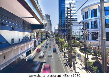 Bangkok-Thailand. Thai capital's central business district.Asia travel.Bangkok city and traffic - stock photo