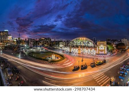 Bangkok : Top view ,Bangkok train, Bangkok Railway Station in twilight (Hua Lamphong Railway Station),6 July  2015. - stock photo