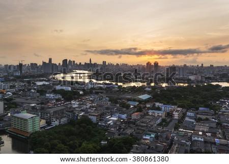 Bangkok view twilight color Chao Phraya River at thailand - stock photo