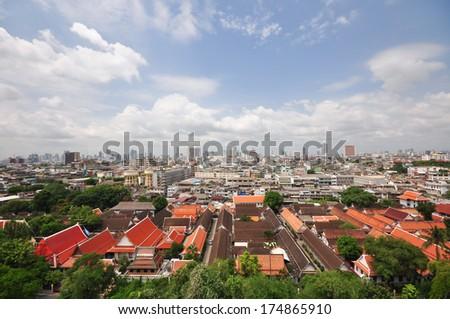 Bangkok viewpoint - temple and city - stock photo