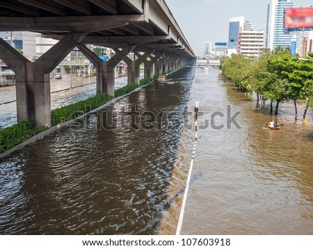 BANGKOK - Viphawadee-Rangsit Road, flooding from monsoon rain in Thailand - stock photo