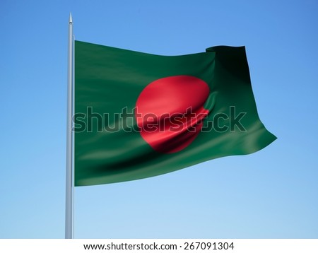 bangladesh 3d flag floating in the wind with a blue sky in the background - stock photo