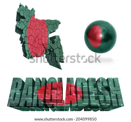 Bangladesh flag and map in different styles in different textures - stock photo