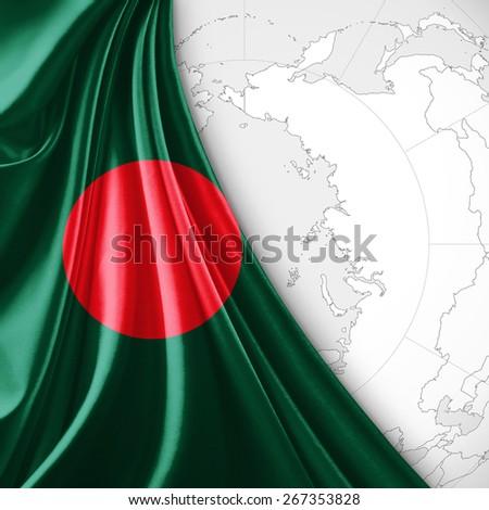 Bangladesh flag and world map background - stock photo