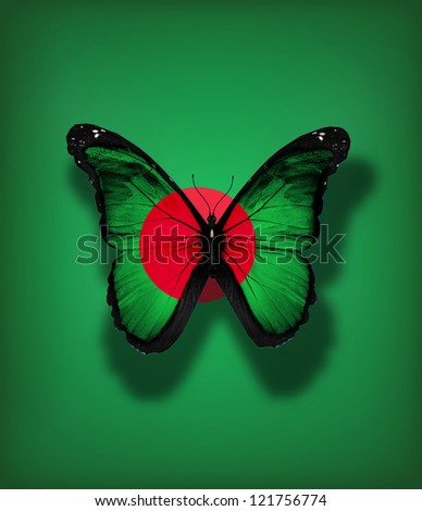 Bangladesh flag butterfly, isolated on flag background - stock photo