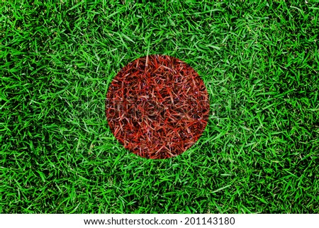 Bangladesh Flag color grass texture background - stock photo