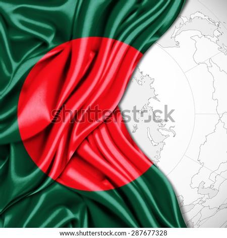 Bangladesh flag of silk and world map background - stock photo