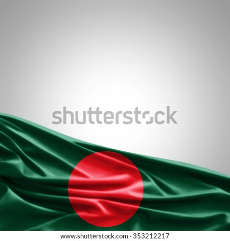 Bangladesh flag of silk with copyspace for your text or images