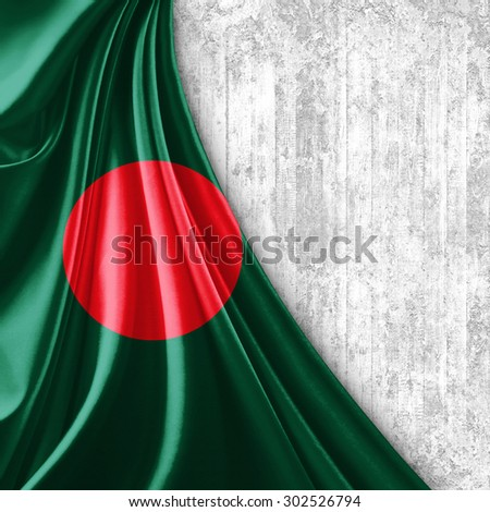 Bangladesh flag of silk with copyspace for your text or images and wall background