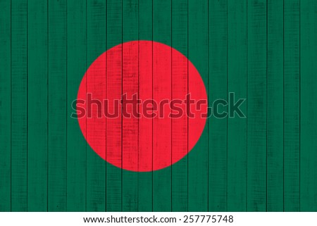Bangladesh Flag on wood background - stock photo