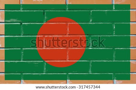 Bangladesh flag painted on old brick wall texture background - stock photo