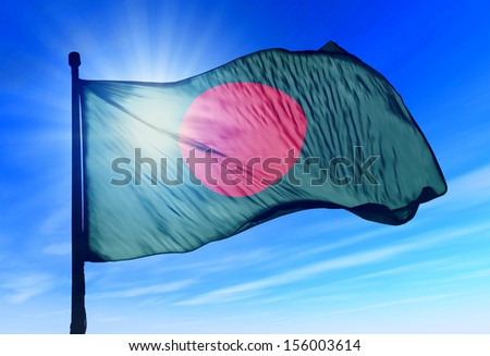 Bangladesh flag waving on the wind - stock photo