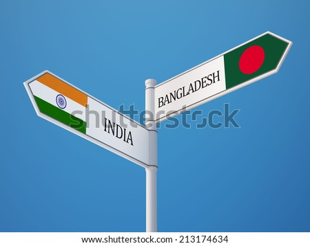 Bangladesh India High Resolution Sign Flags Concept - stock photo