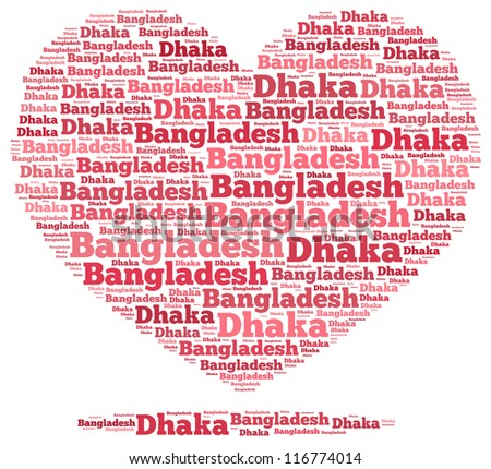 Bangladesh info-text graphics and arrangement concept on white background (word cloud)