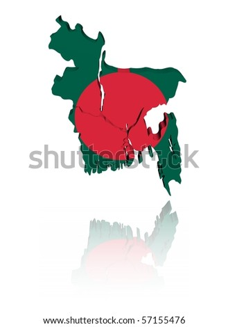 Bangladesh map flag 3d render with reflection illustration