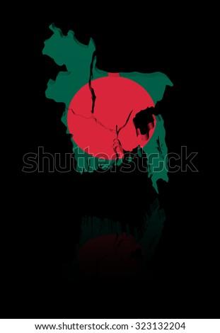 Bangladesh map flag with reflection illustration - stock photo