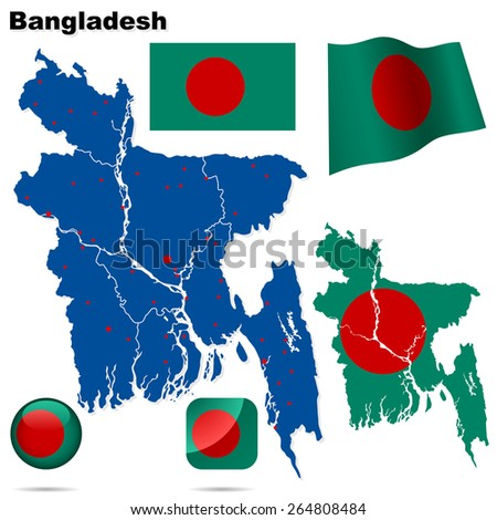 Bangladesh set. Detailed country shape with region borders, flags and icons isolated on white background. - stock photo