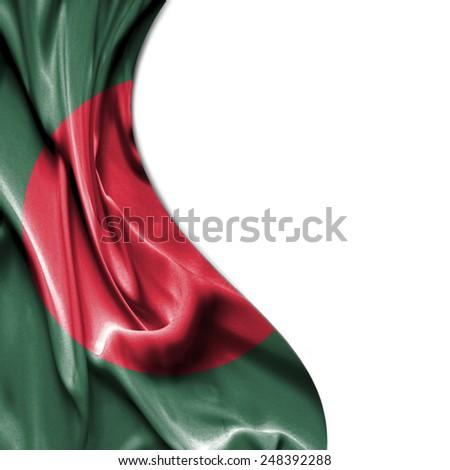 Bangladesh waving silky flag isolated on white background - stock photo