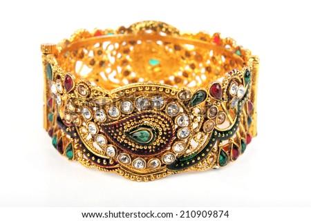 Bangle, Indian bracelets isolated on the white background - stock photo