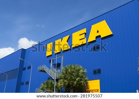 BANGNA,THAILAND - MAY 22 :The Ikea logo in Thailand on May 22,2015. IKEA is the world's largest furniture retailer and sells ready to assemble furniture. Founded in Sweden in 1943.