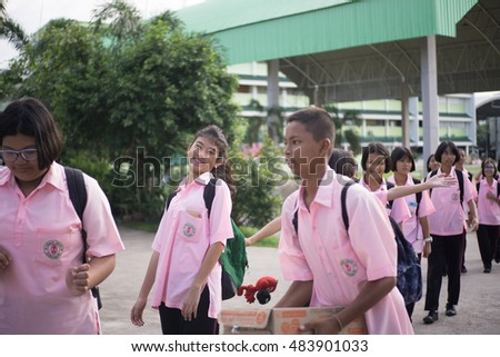 BANGPROK PATHUMTANI THAILAND SEPTEMBER 2016 :Unidentified students go to the bus for field trips on September 16,2016 in Bangprok Muang Patumtani Thailand.