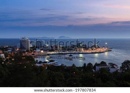 Bangsaen beach at twilight, Chonburi, Thailand