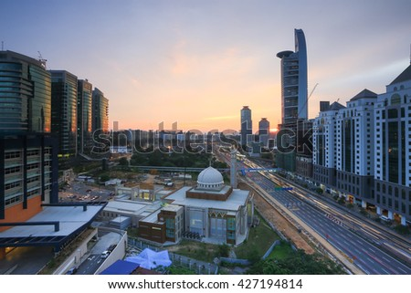 Bangsar,  Malaysia - 2 May 2016 : View of modern buildings and mosque in Bangsar. Bangsar district is one of the luxury area in Kuala Lumpur.