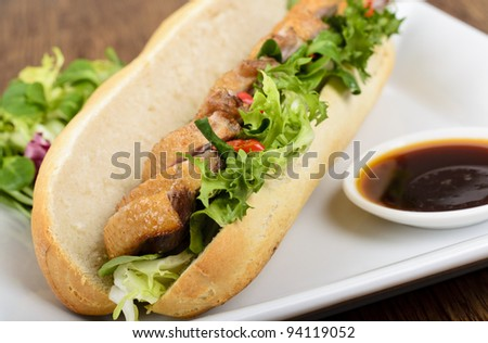 Banh mi - Vietnamese tea smoked duck sandwich.
