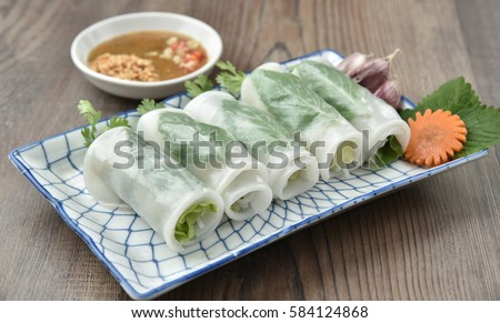 Banh uot cuon Hue - Hue steamed spring rolls (the spring rolls is steamed and rolled with fried pork)
