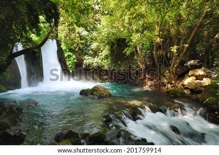 Banias Waterfall . Hermon Stream Nature Reserve, Israel - stock photo