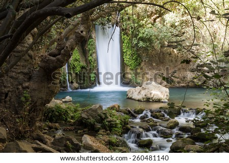 Banias waterfall stream on Jordan. River Hermon, Nature Reserve in the north of Israel  - stock photo